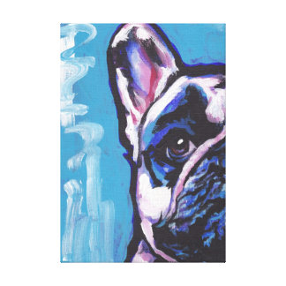 Frenchie French Bulldog pop art on wrapped canvas