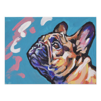 Frenchie French Bulldog pop art poster print