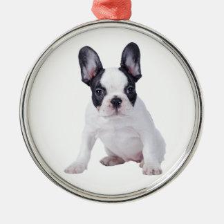 Frenchie - French bulldog puppy Round Metal Christmas Ornament