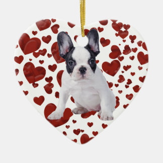 Frenchie - French bulldog puppy Double-Sided Heart Ceramic Christmas Ornament