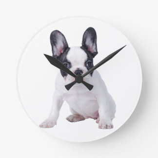 Frenchie - French bulldog puppy Round Clock