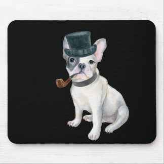 Frenchie French Bulldog Top Hat pipe Dogs In Mouse Pad