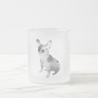 Frenchie Frosted Glass Coffee Mug