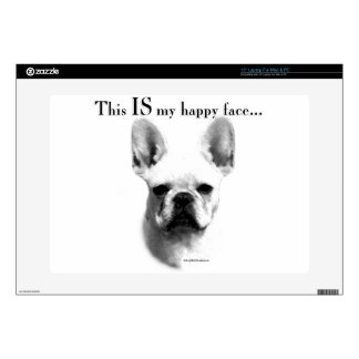 """Frenchie Happy Face 15"""" Laptop Skin"""