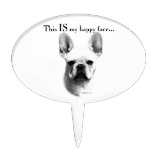 Frenchie Happy Face Cake Topper