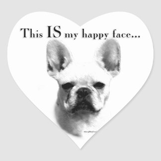 Frenchie Happy Face Heart Sticker