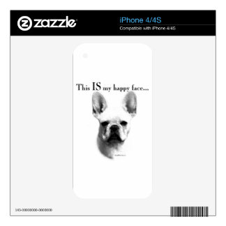 Frenchie Happy Face iPhone 4 Skins