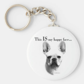 Frenchie Happy Face Keychain