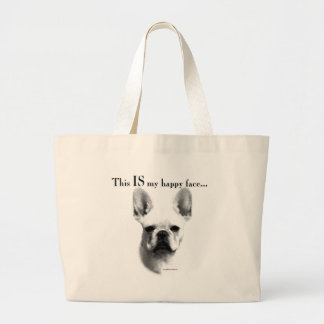 Frenchie Happy Face Large Tote Bag
