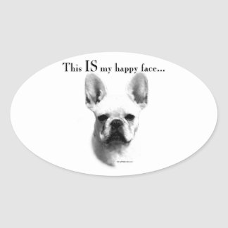 Frenchie Happy Face Oval Sticker