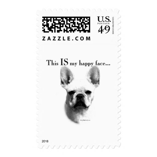 Frenchie Happy Face Postage Stamp