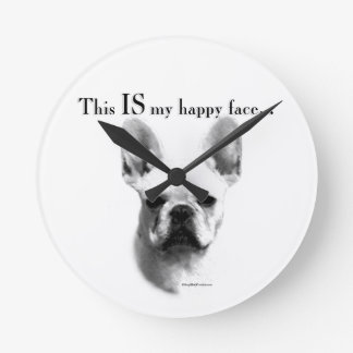 Frenchie Happy Face Round Clock