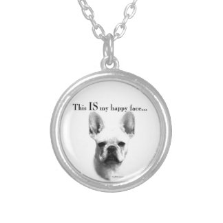 Frenchie Happy Face Silver Plated Necklace