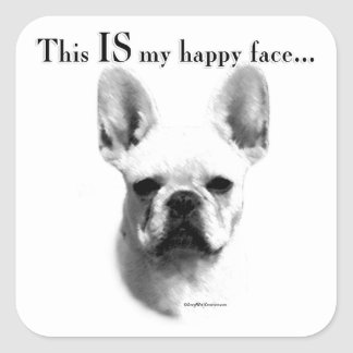 Frenchie Happy Face Square Sticker