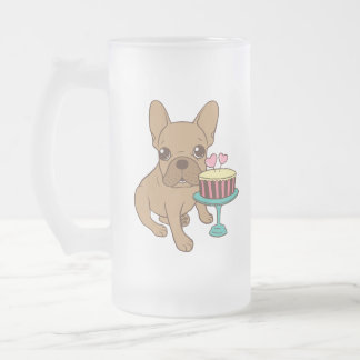 Frenchie has a Birthday Frosted Glass Beer Mug
