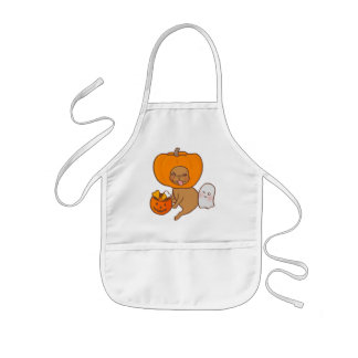 Frenchie in costume for Halloween party Kids' Apron