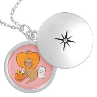 Frenchie in costume for Halloween party Silver Plated Necklace