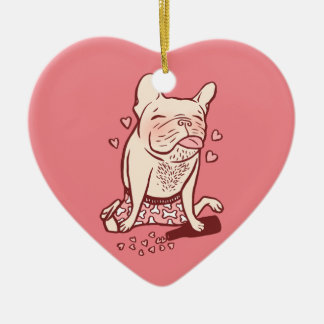 Frenchie is drunk in love ceramic ornament