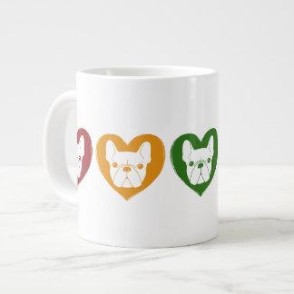 Frenchie Love, Rainbow 20 Oz Large Ceramic Coffee Mug