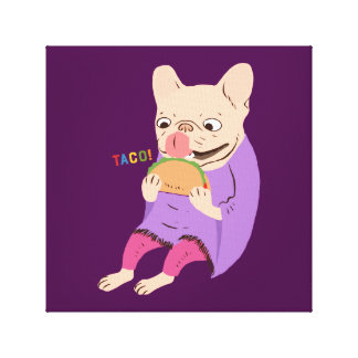 Frenchie Loves Taco Canvas Print