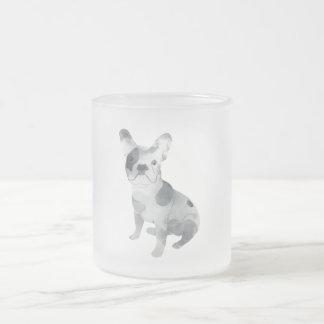 Frenchie 10 Oz Frosted Glass Coffee Mug