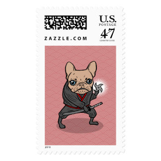 Frenchie Ninja Postage Stamp