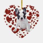 Frenchie - perrito del dogo francés adorno de cerámica en forma de corazón