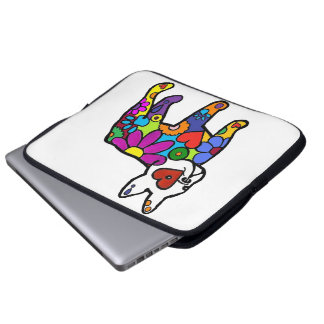 Frenchie Power white background Laptop Computer Sleeves
