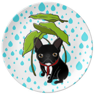Frenchie puppy is enjoying the rain in Spring Dinner Plate