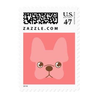 Frenchie rosado timbres postales
