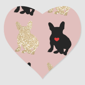 Frenchie Silhouette Pattern Heart Sticker