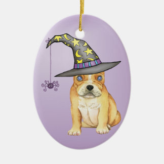 Frenchie Witch Ceramic Ornament