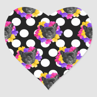 Frenchies and Pansy Dots Heart Sticker