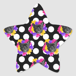 Frenchies and Pansy Dots Star Sticker