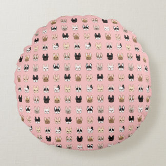 Frenchies Family Round Pillow