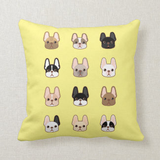 Frenchies Family Throw Pillow