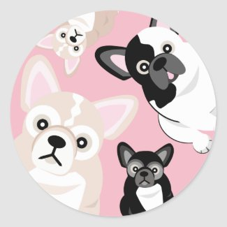 Frenchies French Bulldog Birthday Classic Round Sticker