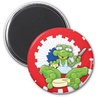 Frenchy Frog 2 Inch Round Magnet