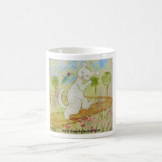 Frenchy talking to humingbird coffee mug