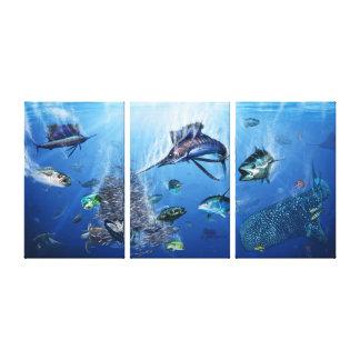 Frenesí del pez volador lienzo envuelto para galerías