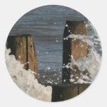 freno de agua de la onda etiquetas