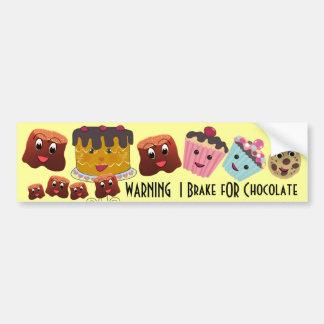 Freno de CUIDADO de I PARA el chocolate Chibi - Pegatina Para Auto