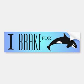 Freno para el azul de la silueta de la orca de la etiqueta de parachoque