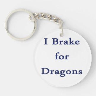 Freno para el azul de los dragones d llavero redondo acrílico a doble cara