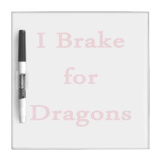 Freno para el rosa de los dragones tablero blanco