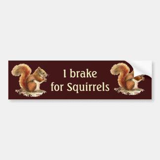 Freno para las ardillas, animales de la acuarela etiqueta de parachoque