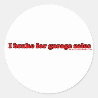 Freno para las ventas de garaje pegatina redonda