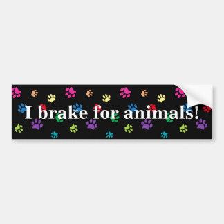 """""""Freno para los animales!"""" Patas pintadas arco Pegatina Para Auto"""