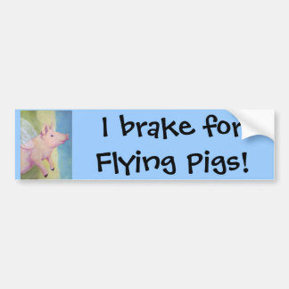 ¡Freno para los cerdos que vuelan Pegatina para e Pegatina De Parachoque