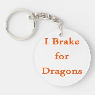Freno para los dragones anaranjados llavero redondo acrílico a doble cara